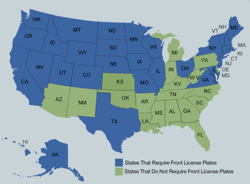 How Many States Require Front License Plates? | News | Cars com
