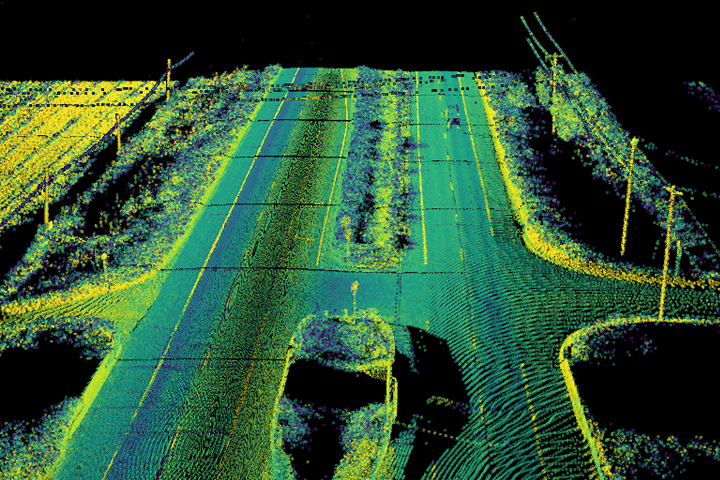 Lidar map image of a compatible, divided-highway (US 127 and W C