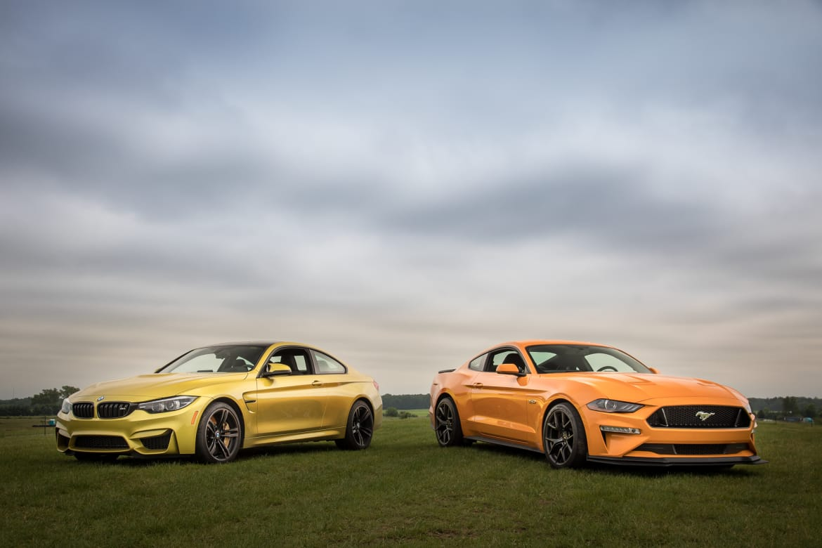 01 bmw m4 2018 vs ford mustang gt