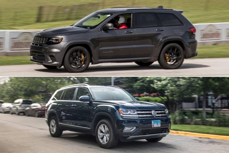 vw atlas   jeep grand cherokee srt trackhawk news carscom